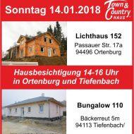 Sonntag den 14. Januar, Hausbesichtigung in Ortenburg sowie bei Tiefenbach!